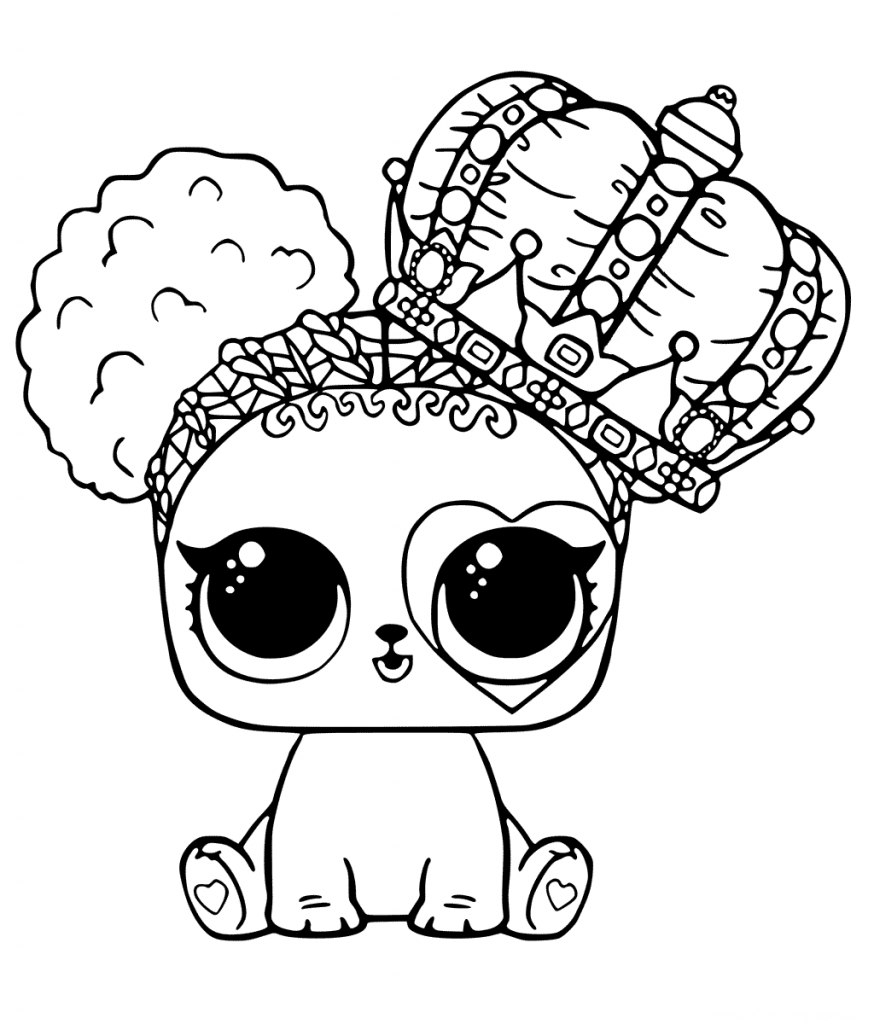 Раскраска ЛОЛ - Щенок в короне - Раскраски Лол LOL ...