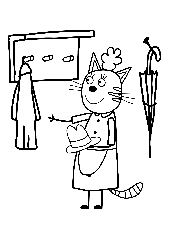 раскраска три кота кошка мама раскраски три кота