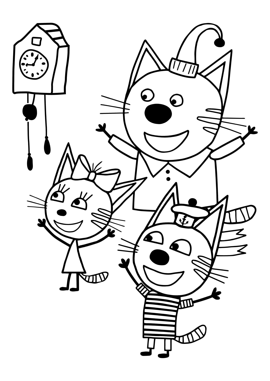 Три Кота раскраска распечатай бесплатно - Раскраски Три ...