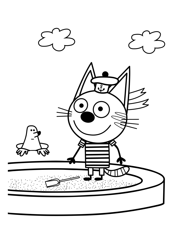 раскраска из мультика три кота раскраски три кота