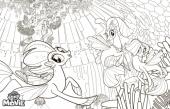 раскраска с эпплджек радугой и флаттершай из My Little Pony
