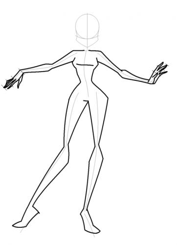 Как рисовать Винкс в полный рост, вид спереди