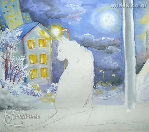 Урок рисования кошки в лунном свете гуашью