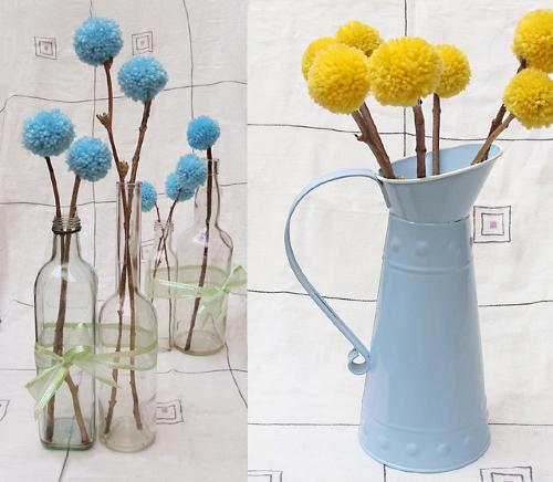 Как сделать цветок из помпонов
