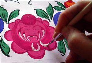 Урок рисования в технике городецкой росписи