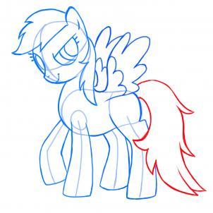Как рисовать пони Радугу Дэш