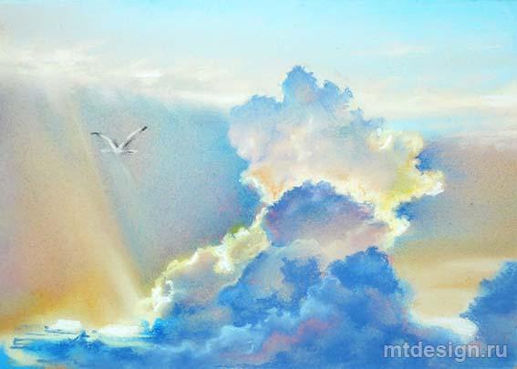 Как рисовать небо с облаками