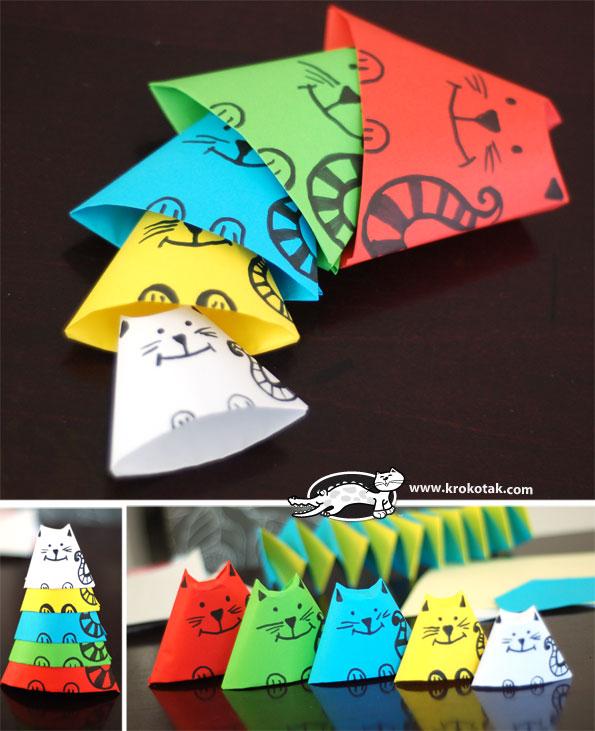 Как сделать поделку из бумаги котика