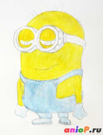 Рисуем миньона цветными акварельными карандашами