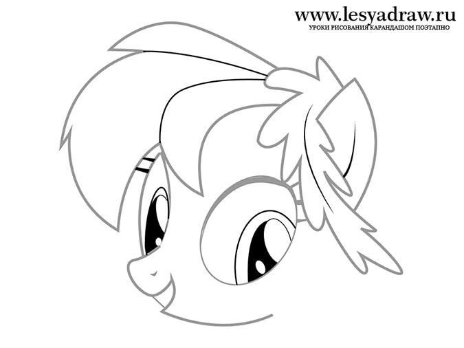 Как нарисовать пони Радугу в наряде для Гала