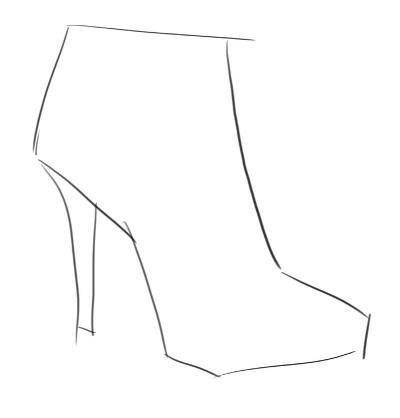 Как рисовать обувь: рисуем ботильоны
