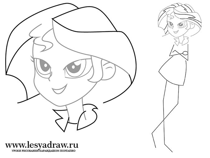 Как нарисовать Сансет Шиммер из Девушек Эквестрии