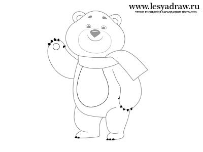 Как рисовать Олимпийского мишку 2014