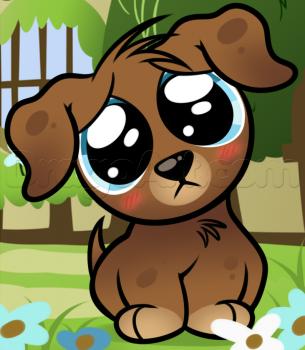 Урок рисования щенка с большими глазами