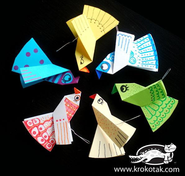 Поделки из цветной бумаги птички