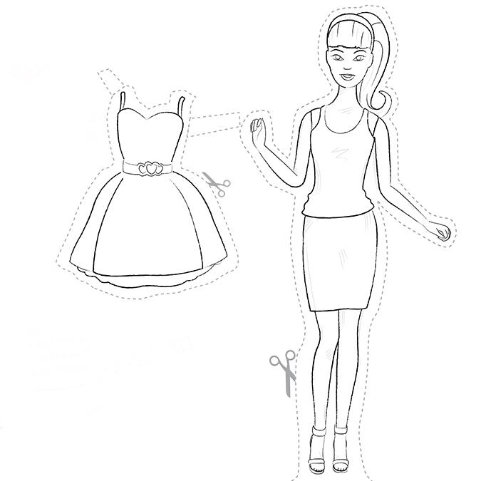 Куклу нарисовать в платье