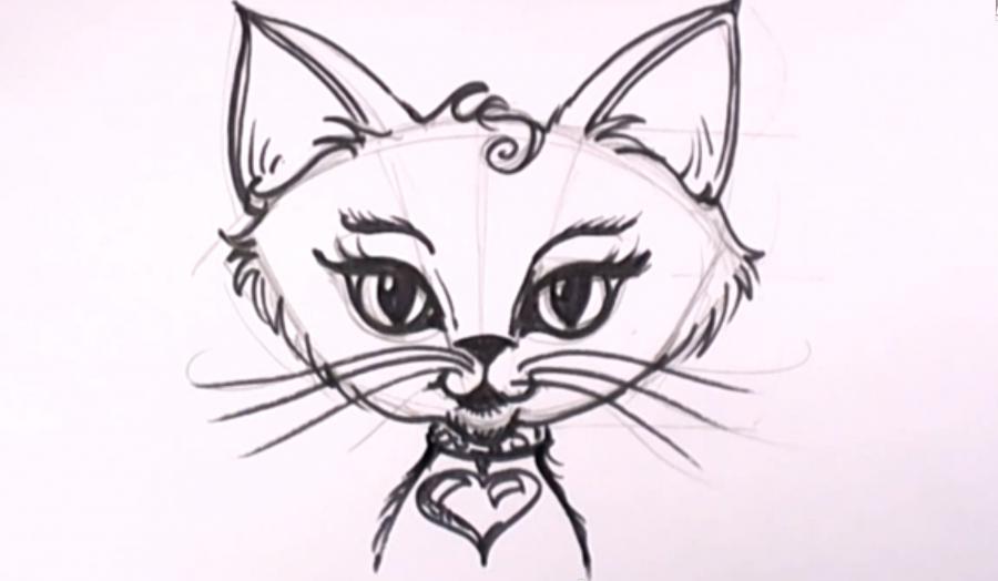 Кошки рисунки поэтапно для начинающих