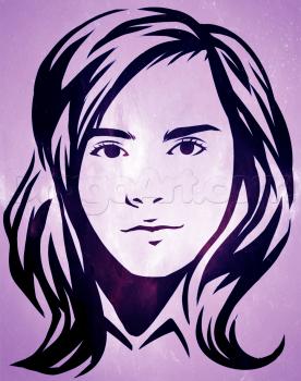 Как нарисовать контурный портрет Гермионы