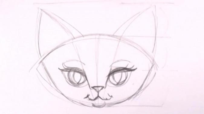 Пошаговый урок рисования кошки
