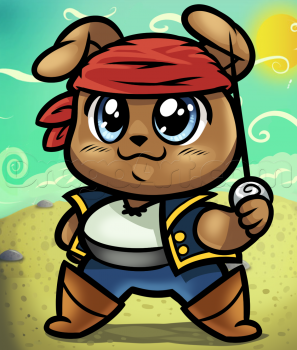 Рисуем щеночка пирата