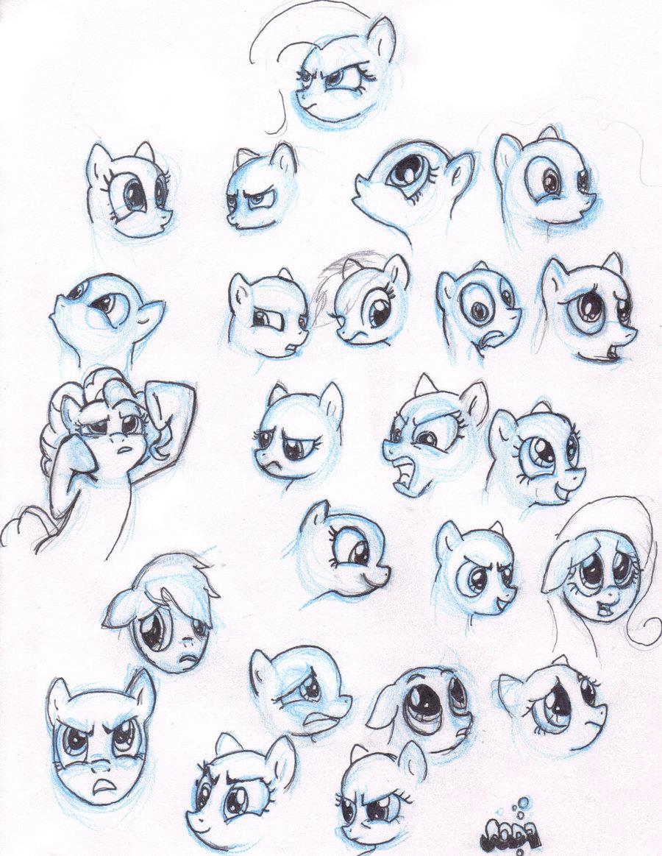 Как рисовать пони выражения мордочек
