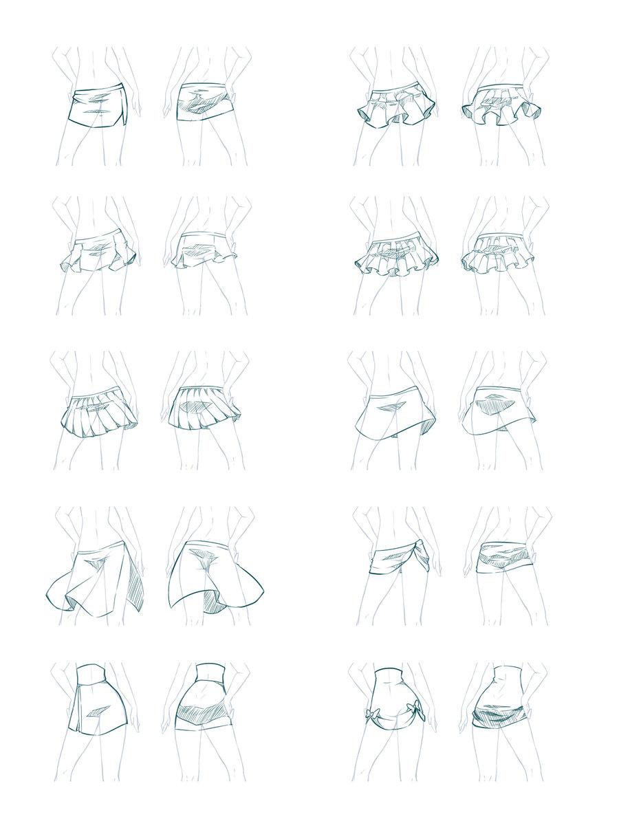Юбка аниме нарисовать