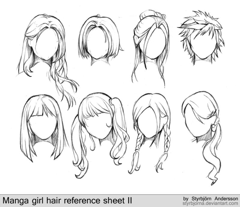 как нарисовать прическу аниме девушки