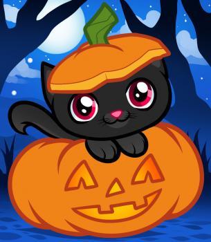 Рисуем котенка с тыквой на Хэллоуин