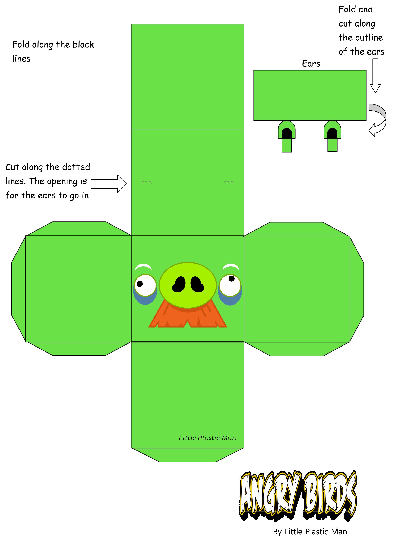 Как сделать энгри бердз из бумаги схема
