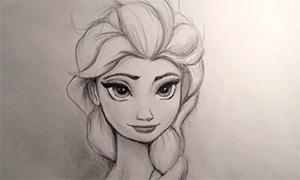 Ускоренный процесс рисования Эльзы