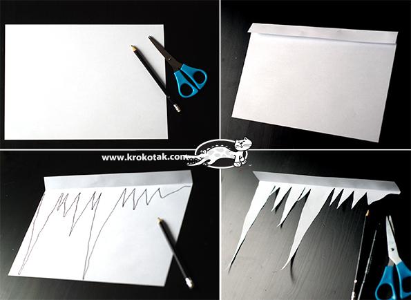 Шаблон сосулек для вырезания из бумаги
