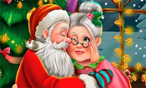 Новогодняя игра: Поцелуи Санта Клауса и миссис Клаус