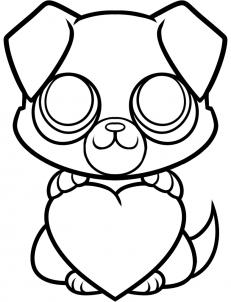 Как нарисовать щенка с сердечком