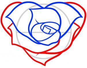 Как нарисовать розу в форме сердца