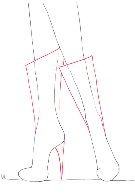 Как рисовать сапоги на высоком каблуке