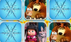 Игра для девочек: Маша и Медведь и одинаковые картинки