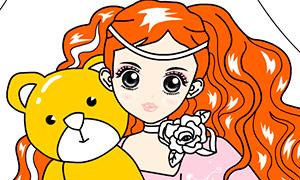 Игра для девочек: Раскрась принцессу