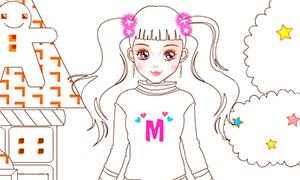 Онлайн раскраска: Девочка сладкоежка