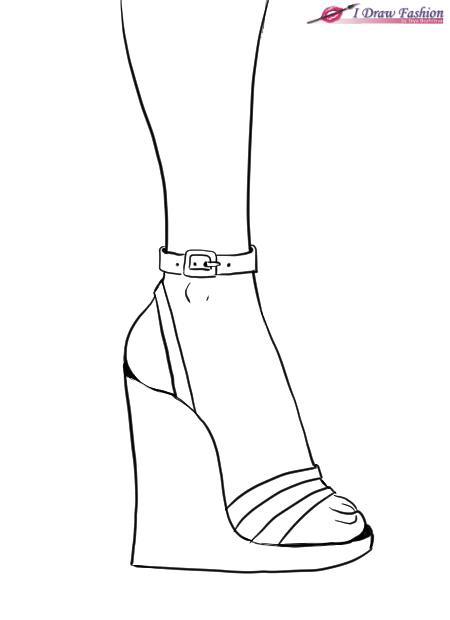 Как рисовать обувь на танкетке