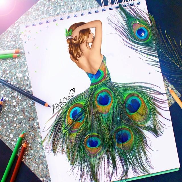 bdc0be8552d Необычные рисунки девушек в платьях - YouLoveIt.ru