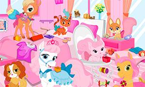 Игра для девочек: Уборка в комнате Королевских Питомцев