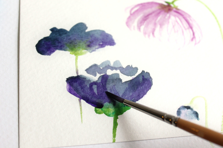 for How to paint watercolor flowers step by step