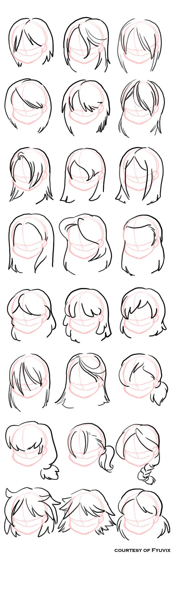 Как рисовать прически с прямыми волосами: картинки примеры
