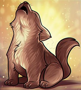 Волчонок воет на луну: поэтапный урок рисования