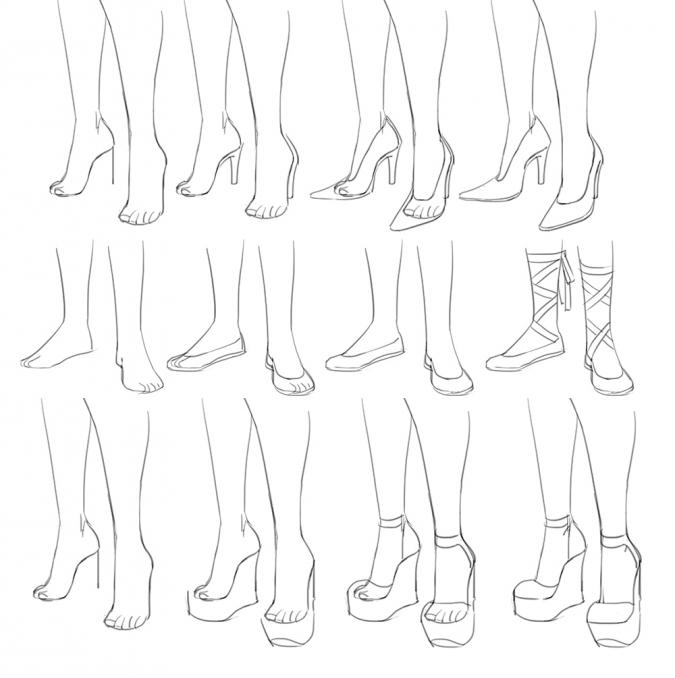 Как рисовать разную обувь