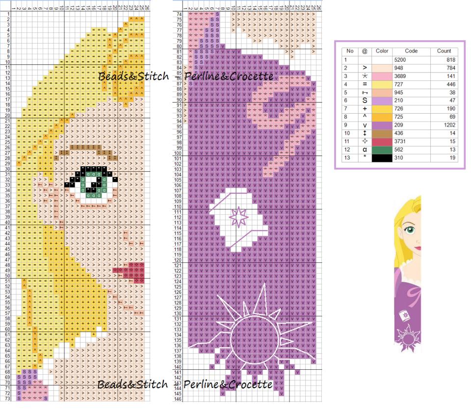 Схема вышивки принцессы дисней