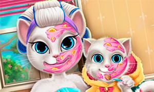 Игра для девочек: Преображение для мамы кошки Анжелы и её дочки