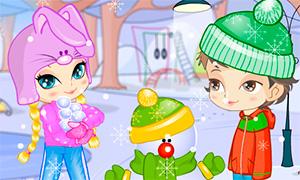 Игра для девочек: Зимняя одевалка двух друзей
