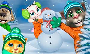 Игра для девочек: Кот Том и говорящие друзья играют в снежки
