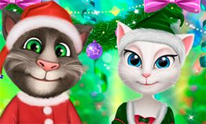 Игра Говорящий Том: Новогодняя одевалка Тома и Анжелы